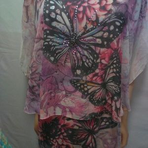 Cal Style Butterfly dress lined bat wings gorgeous